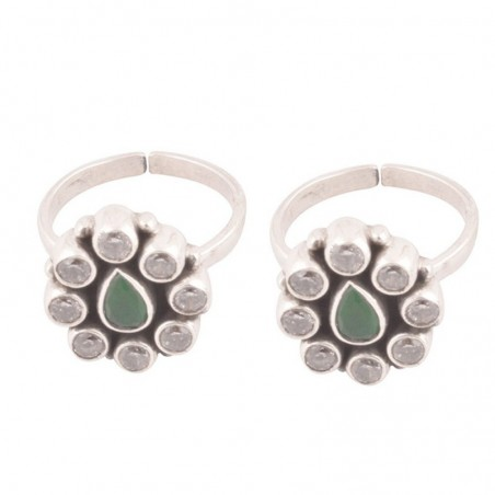 Exclusive  Cubic Zirconia and Emerald  Gemstone Toe Ring