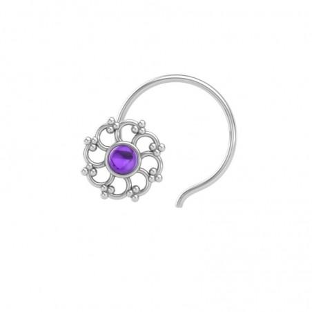 Artisan Crafted Amethyst Gemstone Nose Pin