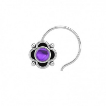 Artisan Crafted Amethyst Gemstone Nose Pin