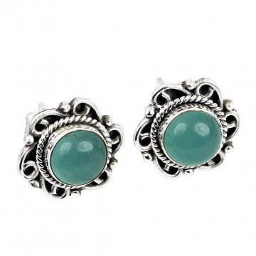 Elegant style Green Onyx Cabochon Stone Studs Earrings
