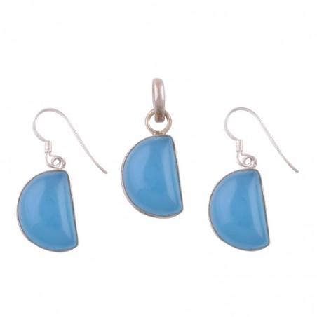 Elegant style Blue Chalcedony Gemstone Set
