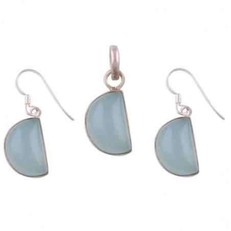 Elegant style Aqua Chalcedony Gemstone Set