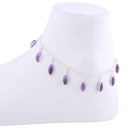 Handmade Amethyst Gemstone Anklet