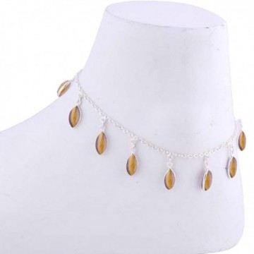 Exclusive Tiger Eye Gemstone Anklet
