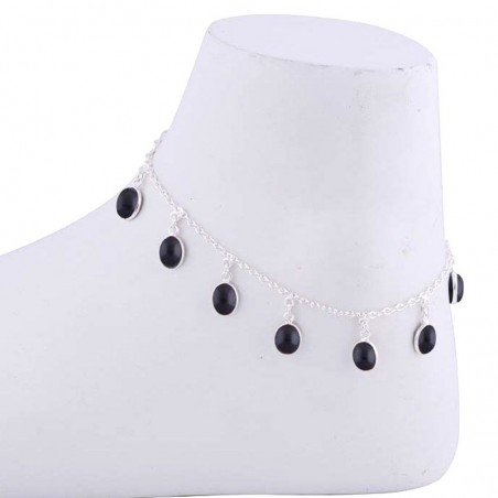 Beautiful Black Onyx Gemstone Anklet