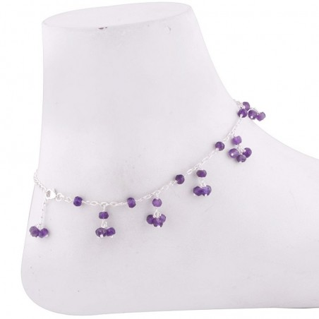Wonderful Amethyst Beads Anklet