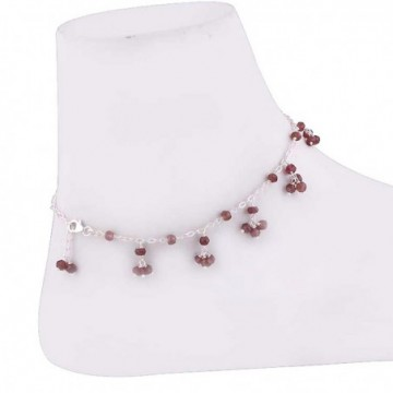 Lovely Style Garnet Beads Anklet