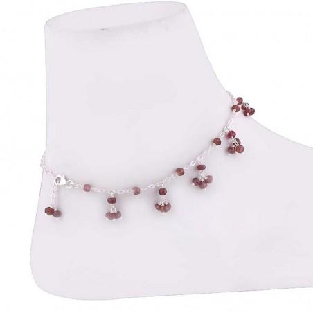 Lovely Style Garnet Beads Anklet