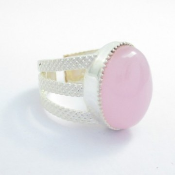 Elegant style Rose Quartz Gemstone Fashion Ring