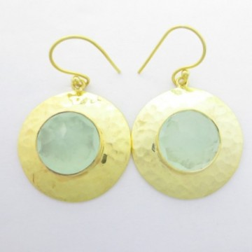 Hammered Aqua Chalcedony Gemstone Dangle Drop Earring