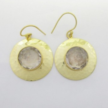 Hammered Clear Quartz Gemstone Dangle Drop Earring