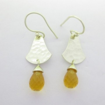 Hammered Citrine Drops Gemstone Dangle Drop Earring
