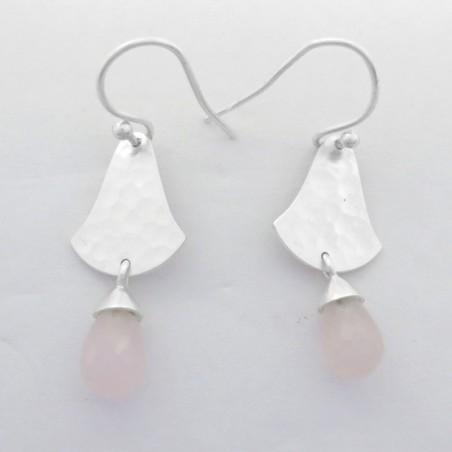 Hammered Rose Quartz Drops Gemstone Dangle Drop Earring