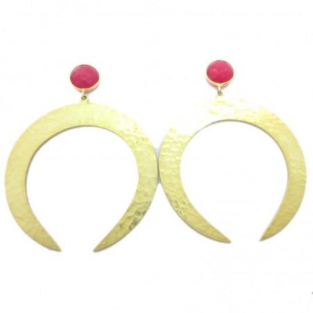 Hammered Rani Chalcedony  Gemstone Studs Earring