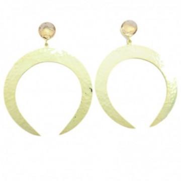 Hammered Morgenite  Gemstone Studs Earring