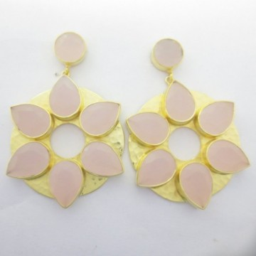 Hammered Rose Quartz Gemstone Studs Earring