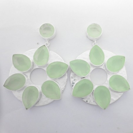 Hammered Aqua Chalcedony  Gemstone Studs Earring