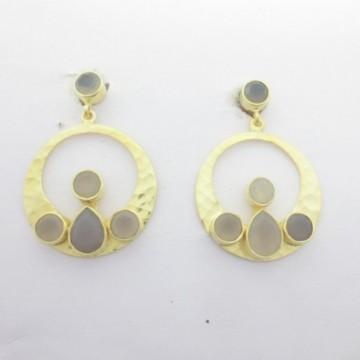 Hammered Gary Chalcedony  Gemstone Studs Earring
