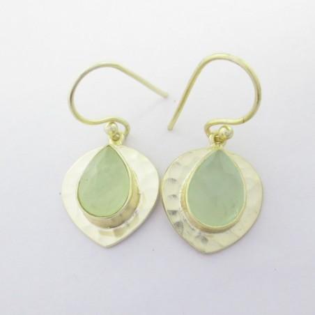 Hammered Aqua Chalcedony  Gemstone Dangle Drop Earring