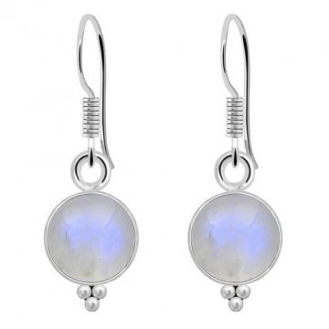 Handcrafted Rainbow Moonstone Gemstone Dangle Drop Earrings