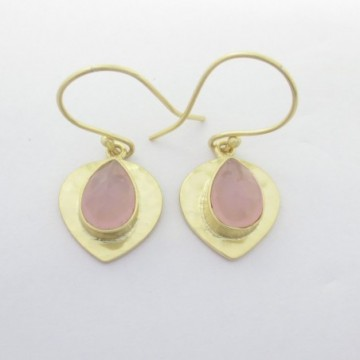 Hammered Rose Quartz Gemstone Dangle Drop Earring