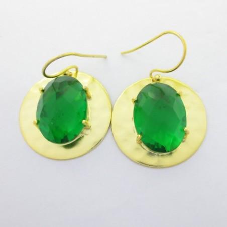 Hammered Green Quartz Gemstone Dangle Drop Earring
