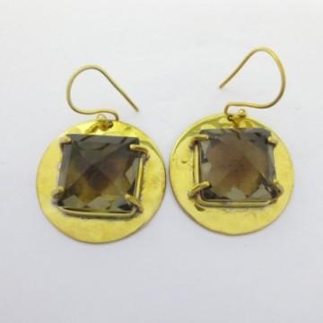 Hammered Smokey Quartz Gemstone Dangle Drop Earring