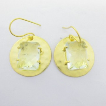 Hammered Clear Quartz Gemstone Dangle Drop Earring