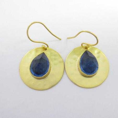 Hammered Blue Quartz Gemstone Dangle Drop Earring