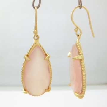 Exclusive Rose Quartz Gemstone Dangle Drop Earring