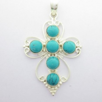 Artisan Crafted Turquoise Gemstone Cross Pendant