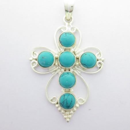 Artisan Crafted Turquoise Gemstone Cross Pendant