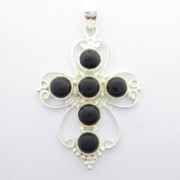 Artisan Crafted Black Onyx Gemstone Cross Pendant