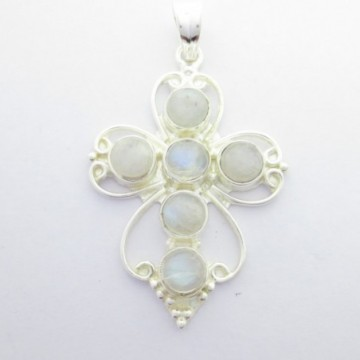 Artisan Crafted Rainbow moonstone Gemstone Cross Pendant