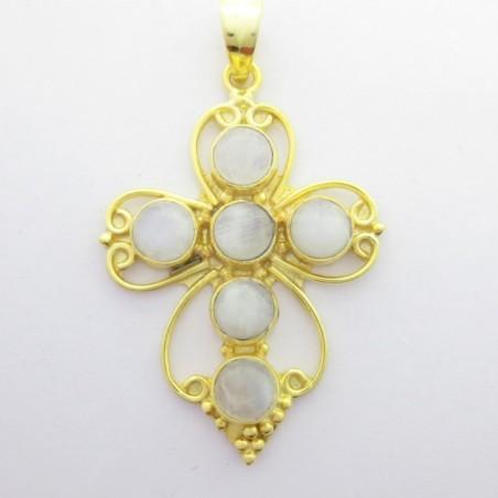 Artisan Crafted Rainbow moonstone Gemstone Cross Pendant