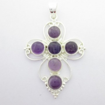 Artisan Crafted Amethyst Gemstone Cross Pendant