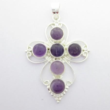 Artisan Crafted Amethyst Gemstone Cross Pendant
