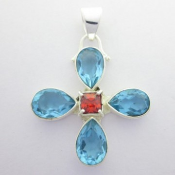 Artisan Crafted Blue Topaz Gemstone Pendant