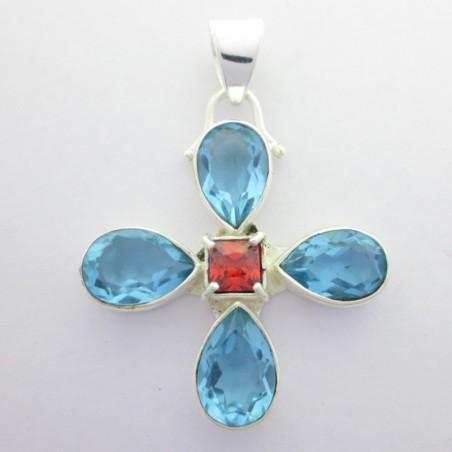 Artisan Crafted Blue Topaz Gemstone Pendant