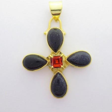 Artisan Crafted Blue Sun Sitara Gemstone Pendant