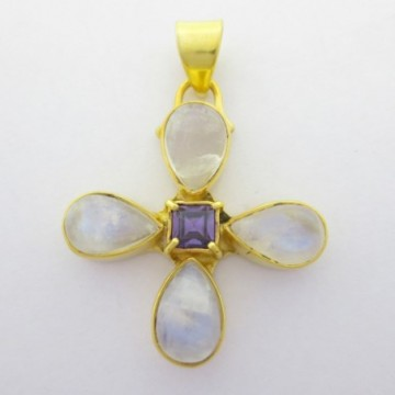 Artisan Crafted Rainbow moonstone Gemstone Pendant