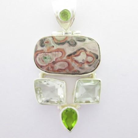Artisan Crafted Jasper, Green Amethyst, Peridot Gemstone Pendant