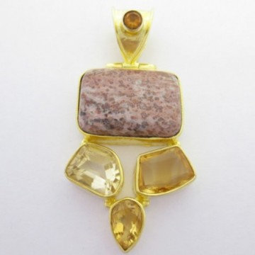 Artisan Crafted Jasper, Citrine Gemstone Pendant