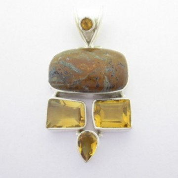 Artisan Crafted Jasper, Citrine Gemstone Pendant