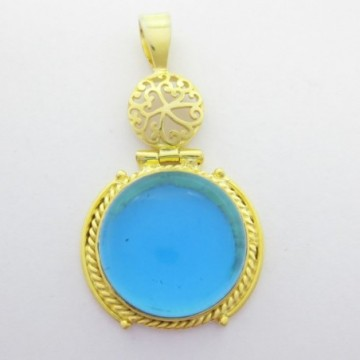 Artisan Crafted Blue Quartz Gemstone Pendant