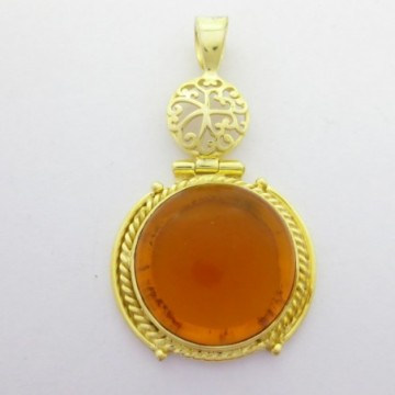 Artisan Crafted Citrine Quartz Gemstone Pendant