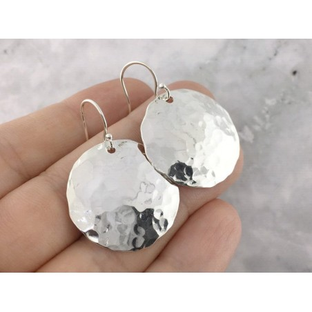 Hammered Sterling Silver Earring Pair