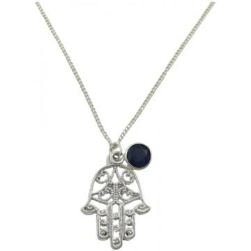 September (Sapphire) Birthstone Handmade Necklace, Hamsa...