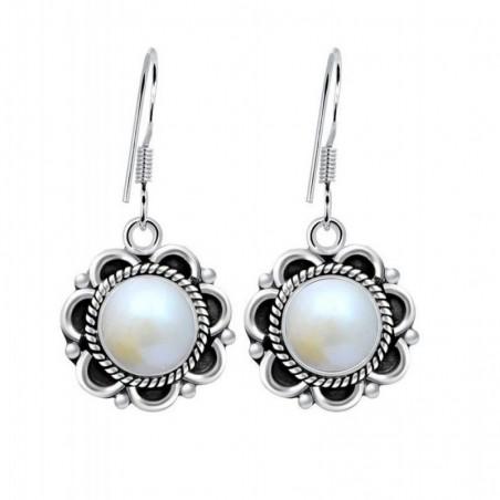 Designer Handmade Pearl Gemstone Dangle Drop Earrings