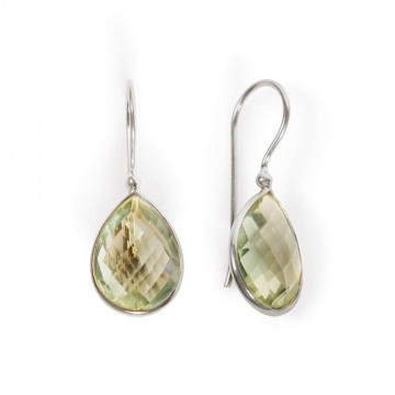 Beautiful Green Amethyst Gemstone Dangle Earrings